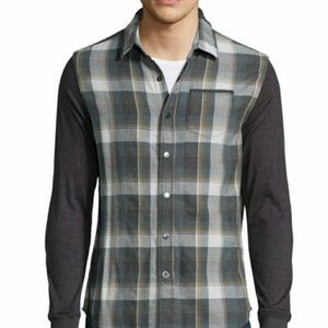 """Howe """"No Truth"""" Plaid with dark sleeves. Large."""